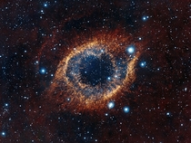 An Unusual View of The Helix Nebula aka The Eye of God Captured by ESOs Visible and Infrared Survey Telescope for Astronomy VISTA