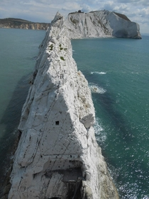 An unusual view of The Needles Isle of Wight UK Taken from the lighthouse at the end looking towards the island