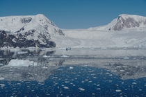 An unusually calm and sunny summer day in Neko Harbor Antarctica