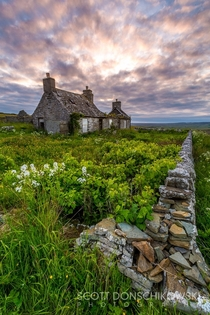 An weatherworn cottage at sunset Taken in Scotland by Scott Donschikowski