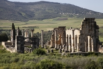 Ancient and modern The Roman ruins of Volubilis sit in a field next to a village near the Moroccan city of Meknes