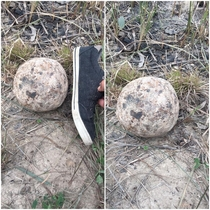 Ancient Cannonball found while digging in an orchard in Karbala  Iraq