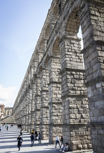 Ancient Roman Aqueduct Completed Aprox AD Segovia Spain
