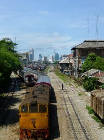 Ancient Train departing Hua Lamphong Station in Bangkok Thailand