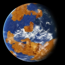 Ancient Venus as depicted in a NASA climate model showing how storm clouds could have protected against strong sunlight and made the planet habitable