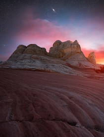 Andromeda Galaxy and Sunset over the unique rock formations of White Pocket Arizona