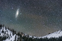Andromeda Galaxy Setting over Snow Covered Mountains in Lassen Volcanic National Park in California