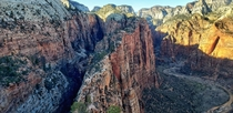 Angels Landing Zion National Park Utah believed to be so difficult to climb that only angels could land on it