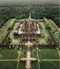 Angkor Wat is a temple complex in Cambodia and the largest religious monument in the world by land area measuring  hectares