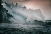Angry ocean trying to grab a wall location cape disappointment state park Washington state