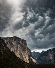 Angry skies over Yosemite National Park