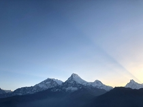 Annapurna I Annapurna South and Machapuchare in sunrise Nepal
