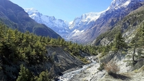 Annapurna mountain range Nepal - as taken by my brother while trekking  OC