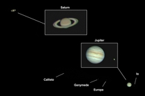Annotated image from yesterday of Jupiter and Saturn all in  frame theyre getting closer you guys