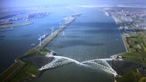 Annual testing of the Maeslantkering storm surge barrier outside Rotterdam the Netherlands