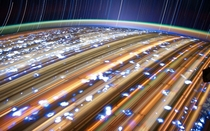 Another Amazing Light Trails Picture of Cities From Don Pettit Taken From The ISS Orbiting  Miles Above The Earth