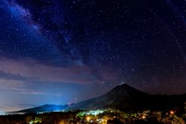 Another Costa Rica night sky includes volcano