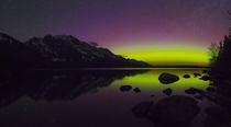 Another different view of the Grand Tetons from Jenny Lake during a super strong geomagnetic storm