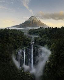Another of my photographs from that one waterfall with a volcano in the back - that no one believed was a real place Tumpak Sewu Java Indonesia