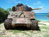 Another of the abandoned M- Sherman tanks on Culebra Island Puerto Rico