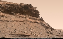 Another pic of a cliff on Mars The triangular shape at the middle right is quite strange isnt it  Pic by NASAJPL-CaltechMSSSThomas Appr
