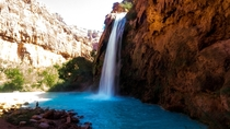 Another picture of Havasu Falls - Havasupai AZ - Slowed down the Shutter Speed