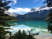 Another view of Emerald Lake this morning The color of the water is unbelievable Yoho National Park BC