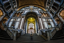 Antwerp Central Station through a fish eye lens