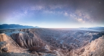 Anza Borrego Desert State Park shortly before sunrise Panorama
