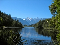 Aoraki and Mt Tasman viewed from Lake Matheson NZ