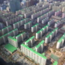 Apartment buildings that look like a circuit-board from the  Building in Seoul South Korea