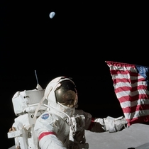 Apollo  Commander Eugene Cernan and the US flag on the lunar surface