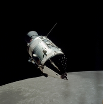 Apollo  CommandService Module in orbit around the moon