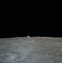 Apollo  CSM Casper in lunar orbit as Earth rises on the horizon