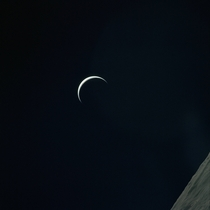 Apollo  view of a crescent Earth from the Moon