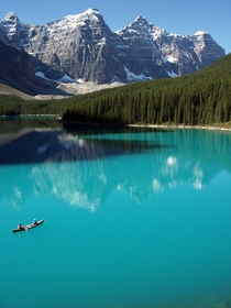 Apologies to all the other National Parks but I believe THIS to be truly heaven on earth - Moraine Lake Banff National Park Alberta Canada in June  Photo by Pascal Redeo