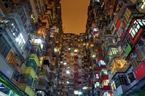 Apparent block in Hong Kong on a humid rainy night
