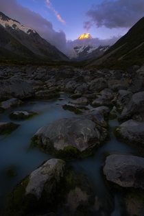 Approaching New Zealands Mt Cook at Sunset