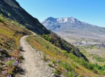 Approaching the crater of Mt St Helens by way of the devils elbow section of the boundary trail WA USA