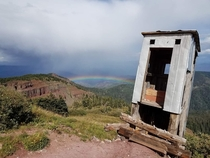 Aptly named The Loo with a View at ft elevation near abandoned silver mine and outpost Dated s to early s Colorado