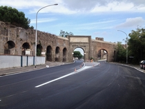Aquaeduct over road Porta Furba Rome Italy