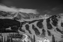 Arapahoe Basin ABasin in Colorado last night under the near full moon Light trails from Hwy  arcing around in the corner I was there for the dinners they do up at mid-mountain a couple nights a season Skiing down under the full moon with no headlamp was i
