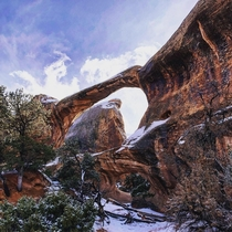 Arches National Park UT Double O with snow
