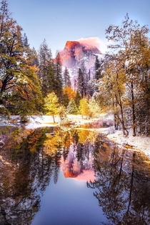 Are we still doing Yosemite I got lucky to see some bright fall foliage under a blanket of fresh white snow with a little alpenglow on Half Dome high above Single exposure shot -  - IG BersonPhotos
