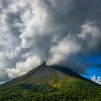 Arenal Volcano Costa Rica emitting steam