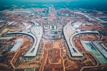 Arial photo of Chengdu Airport under construction Massive construction site