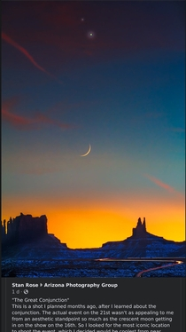 Arizona conjunction with crescent moon see comments for link
