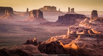 Arizona USA A stunning sunset on the Monument Valley photographed from the remote rock formation known as The Hunts Mesa writes Francesco Riccardo Iacomino