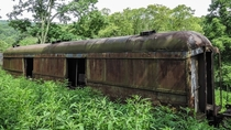 Armored train car abandoned in the jungle