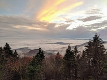 Arrived just in time for sunset above the clouds Sugarloaf Mountain Catskills NY
